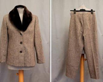 1980's Wool Beige Suit - 80's Faux Fur Pants Suit - Size S #1764