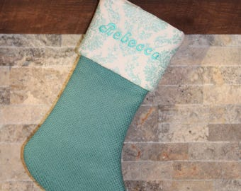 Personalized Aqua Teal Blue Turquoise White Sparkly Glittery Christmas Stocking