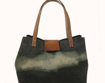 Lined, Waxed Cotton Canvas Tote Bag - Olive - Leather Handle