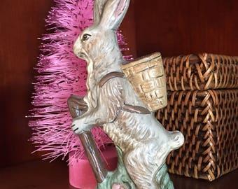 Chalkware Folk Art Rabbit with walking stick