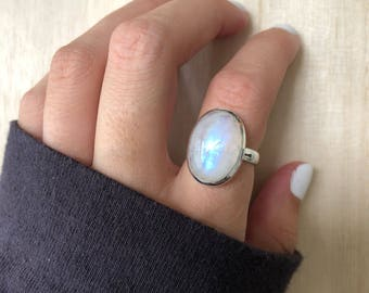 Sterling Silver Moonstone Ring. Size 6