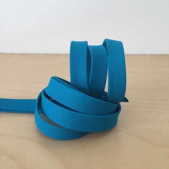 "Bias Tape in Kona Turquoise cotton 1/2"" double-fold binding- Aqua Teal Blue- 3 yard roll"