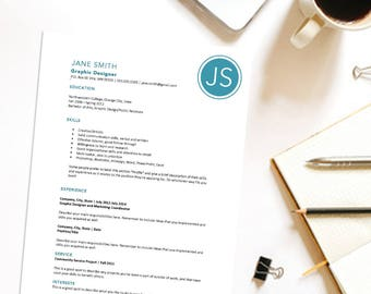 Google Drive Resume Templates Excel Editable Resume  Etsy Cna Resume Objectives with Program Manager Resume Samples Word Custom Printable Resume Cover Letter Template Circle Monogram Microsoft  Word Diy Digital How To Make Your Resume Stand Out Pdf