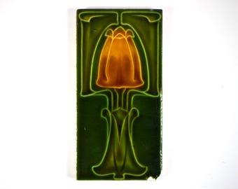 Antique 1900s English Art Nouveau Marsden Tile Co. Ltd tulip pottery tile