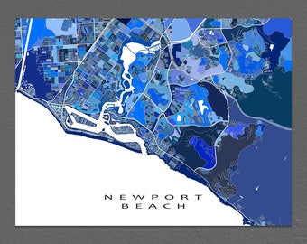 Newport Beach Map Art Print, Newport Beach CA, California City Maps