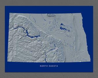 North Dakota Map, North Dakota Wall Art, ND State Art Print, Landscape, Navy Blue