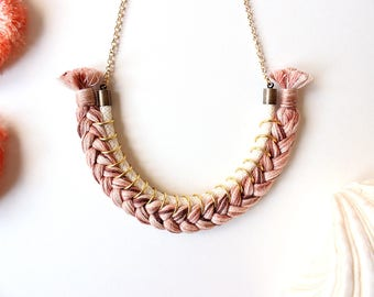 Braided pink necklace/Statement necklace/Rope necklace/Bib necklace/Boho necklace/Hippie necklace/Gift fot her/