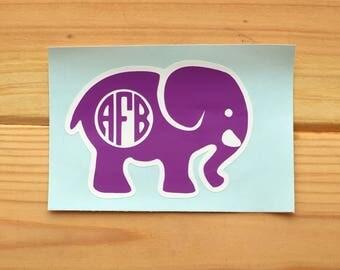 Elephant Monogram Decal, Monogram Laptop Decal, Monogram Elephant Decal
