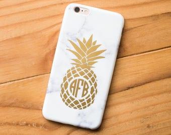 GOLD PINEAPPLE | Pineapple Monogram Decal | Gold Monogram Decal | Monogram Yeti Decal | By AngelaBrooksShop on Etsy