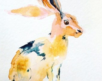 Hare original watercolor painting. Contemporary water colour. Jackrabbit wall art for living room. Rabbit water color. Watercolour picture