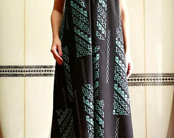 Ginger dress, Tapa,Black, Blue, hawaiian fabric,HNLS02615-54210