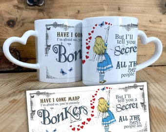Alice in Wonderland Ceramic Mug with Heart shaped Handle - Decorative Gift - 11oz - Mad Hatter Tea Party prop Hearts Bonkers