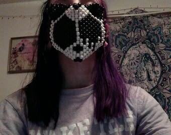 trippy panda melting face kandi mask black and white