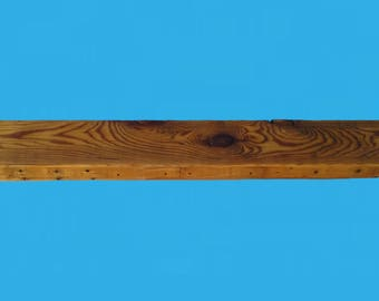 "barn wood floating shelf recycled , 70"" by 5-3/4"" by 2"" , with steel bracket , from a demolished out building-shelf 632"