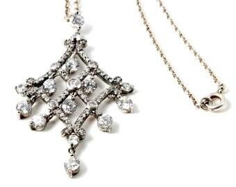 Vintage Sterling Silver & CZ Chandelier Drop Pendant Necklace