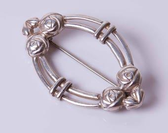 Vintage Scottish Sterling Silver Rennie Mackintosh Art Nouveau Style Brooch - Carrick