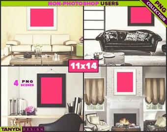 11x14 Black White Wide Frame   4 PNG Living Room Scenes 1114-LRC2   Portrait Landscape   Sofa Living room interior   Unmatted frame 22x28