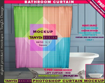 Bathroom Square Shower Curtain | Photoshop Curtain Mockup BC-M2-1 | Vintage bathtub interior | Movable Curtain | Smart Object Custom colors