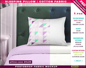 20x26 Sleeping Pillow-Case   Photoshop Fabric Mockup M7-2026-3   Movable pillow   Bedroom interior   Smart Object Custom colors