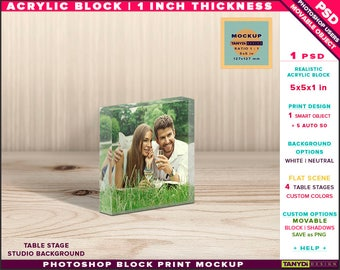 5x5x1 Acrylic Photo Block | Photoshop Block Print Mockup | Square Block on Wooden Fabric Table | Smart object Custom colors