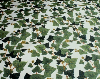 Fabric cotton polyester ecru ivy tendril
