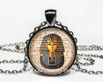 King Tut Mask - Egyptian - Glass Pendant Necklace with Chain