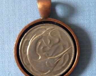 Singapore Sword Fish Coin Pendant With Bezel