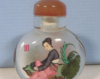 Vintage reverse hand painting Chinese ladies inside snuff bottle circa 1950s