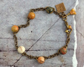 Red creek jasper bracelet, Solid brass chain and stone jewelry, Bohemian gift for girlfriend, Wife present