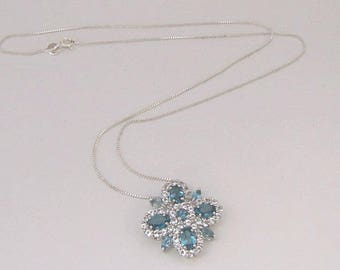 London Blue Topaz/White Topaz Sterling Silver Pendant and Sterling Silver Chain