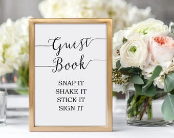 Printable Photo Guest Book Sign - Polaroid Guest Book - Wedding Printable - Instant Download - Editable PDF - minimal - 5x7 inches - #GD0725
