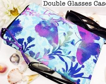 Opulent Double Glasses Case, Zipper Top Double Glasses Pouch Sunglasses Pouch, Eyeglasses Zipper Case, Soft Glasses Case