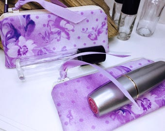 Feminine Lipstick Case, Purple Victorian Essential Oil Bag, Shabby Small Zipper Pouch, Lip Balm Case, USB Case, Doterra Oil Storage