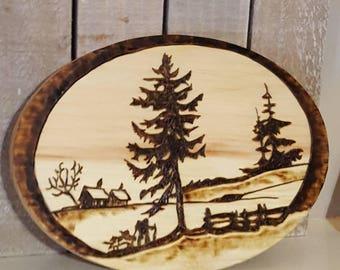 Wood Burning of Rustic Landscape