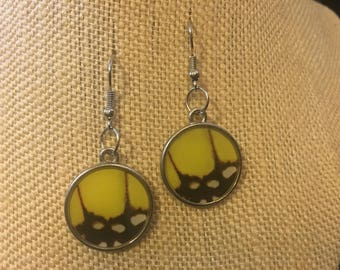 Butterfly Wing Earrings; Yellow Circles