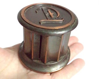Antique Bronze Postage Stamp Dispenser box Holder Monogram Letter D Metal Art Deco Desk Accessory Philately Collectible Gift Decor