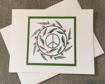 Peace Sign Holiday Christmas Greeting Card Set