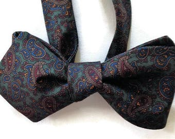 Silk Bow Tie  for Men - Serenity  - One-of-a-Kind, Handcrafted - Self-tie - Free Shipping
