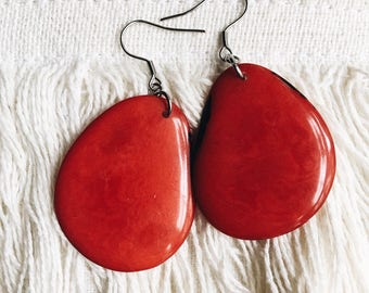Tagua nut earrings, red, boho, bohemian, nature jewelry