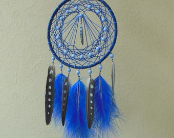 "Dreamcatcher ""Pearl Night""  \ Large Dream catcher \ attrape reves \ Traumfanger  \ blue mobile \ Wall Hangings \ Decor \ acrylic paint"