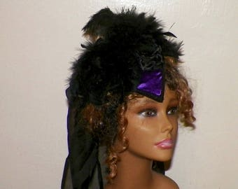 Gothic Headdress Purple Victorian Hat Black Feather Fascinator Steampunk Lolita Costume Headpiece Old West  Marie Antoinette