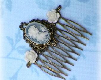 Cameo Vintage Style Hair Comb Bridal Victorian Roses Blue White Gyspy Boho  Steampunk Wedding Gothic Bohemian