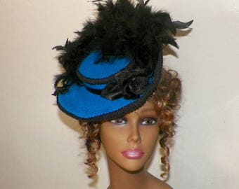 Victorian Hat Fascinator Royal Blue Black Boater Steampunk Gothic Riding Hat Lolita Kentunky Derby Costume Vintage Inspired