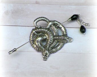 Snake Shawl Pin Silver Brooch Hair Slide Fantasy Gothic Medieval LARP Style Scarf Pin Filigree Antique Victorian Vintage Outlander Outlander