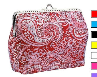 silver and red brocade purse, frame clutch bag, womens bag , evening red clutch, clutch small bag, party clutch, womens clutch purse 0755