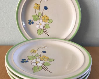 "Sweet vintage set of 4 Andre Ponche ""April Song"" dessert plates yellow white green & blue flower design for tropical Old Florida home!"