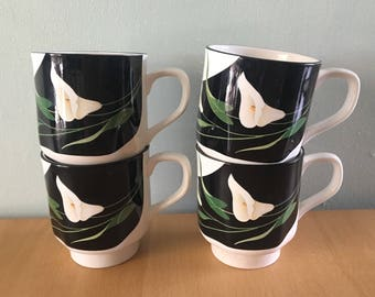 Sweet vintage set of 4 Sango Quadrille Black Lilies coffee mugs white ceramic - pink green Calla Lily design for tropical home!