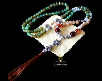 Long tassel necklace, orange adventure jade, red agate beads