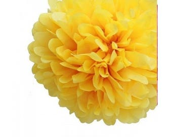 Set of 10 yellow flower pompons yellow paper button, 10 cm + White polyester tape to hang it