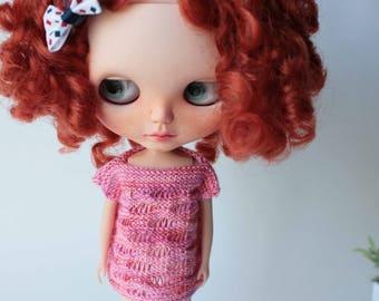 Blythe clothes, Knitted doll dress, Blythe pink vest, Blythe knitted outfit, Blythe summer sweater, Blythe jacket, Knitted toy, Blythe knit